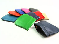 Ladies Mens Coin Pouch Premium High Quality Real Leather Wallet Purse Snap Top