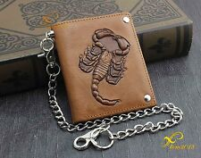 Scorpion Mens Biker Trucker Leather Wallet with Long Anti Theft Chains