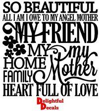 Si belle tous je suis je dois à mon ange mère vinyle autocollant décalque diy cadeau