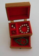 Dollhouse miniatures1:12 scale handmade jewelry chest filed with miniature jewel