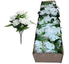 """Lot of 12 Complete 17"""" Bouquets Cream Poly-silk Wedding Home Decor Craft Flower"""