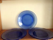"Three Depression Glass cobalt blue 7 1/2"" plates"