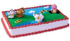 FARM Barnyard COW PIG CHICKEN HORSE Barn Plastic Animal Party Cake Toppers Set