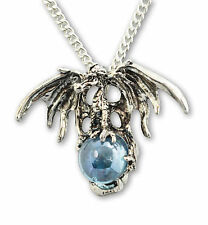 Mystical Dragon with Blue Crystal Ball Pendant Necklace NK-584