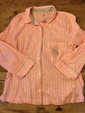 Bright Pink Stripe~SMALL~Victoria's Secret DREAMER FLANNEL PAJAMA TOP (0nly) VS