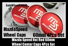 Mazda MS Mazdaspeed 60mm Hot Red Chrome Silver Wheel Center Caps Emblems 4Pc Set