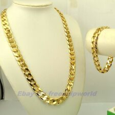 "23.4""12mm100g NECKLACE 9""12mm39g BRACELET REAL MEN SET 18K YELLOW GOLD GP CHAIN"