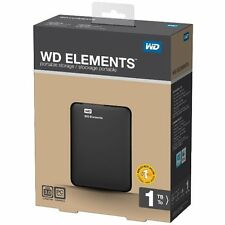 New Western Digital 1TB WD Elements USB 3.0, 2.0 External Portable Hard Disk WD