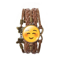 Happy Face Smile Emoji Bronze Brown Leather Emotions Bangle Bracelet BB171