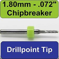 """.072"""" 1.80mm Router - Carbide - Chip Breaker Flutes - Drillpoint Tip   CNC PCB N"""