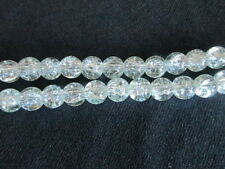 CRACKLE CRYSTAL GLASS BEADS, SOLD BY 100 LOOSE BEADS , 8 MM, CLEAR COLOR