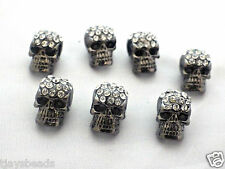 10 x Crystal Pave Zinc Alloy Skull Beads With Rhinestones Gun Metal