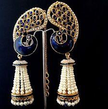 Deep blue,golden peacock pearl chandalier jhumka ADIVA India brass earring v782b