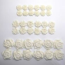36 Ivory Roses edible wedding cake cupcake decorations sugar flowers 25/30/45mm