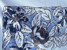 Large Vintage Floral Tablecloth Blue Navy White Ranunculus and Magnolia Flowers