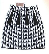 "New Alaia Black and White Geometric Jacquard Knit ""Droite"" Pencil Skirt 38 uk 6"