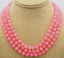 """3row 17-19"""" 8mm   Pink jade beads necklace 18K GP clasp AAA++"""