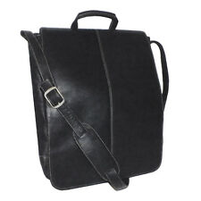 Royce 17 Inch Vertical Laptop Messenger Bag, Colombian Vaquetta Leather, Black