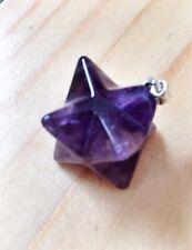 Amethyst & Silver Merkaba Pendant crystal healing, Reiki, gemstone jewellery