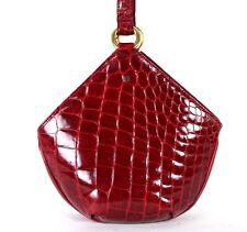 LOEWE Vintage Cherry Red Shiny Alligator Skin & Leather Shoulder Bag