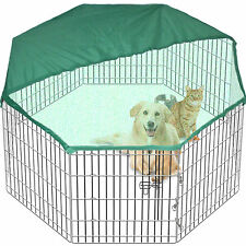 8 Side 61cm Tall Pet Play Pen Dog Cage Folding Run Metal Crate In/Out FREE Cover