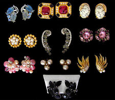 Lot 10 pr Vintage Designer Clip Earrings Haskell Vendome Ciner Juliana Boucher