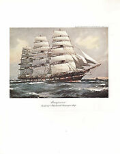 VINTAGE SAILING PRINT ~ MACQUARIE (1875) BLACKWALL PASSENGER SHIP