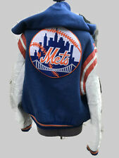 New York Mets baseball embroidered leather & wool varsity letter jacket L.