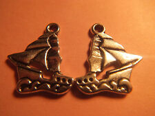 10 TIBETAN SILVER SAILING SHIP CHARMS EARRINGS CRAFTS BEADS CONNECTORS SAILORS