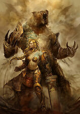 Framed Print - Nordic Warrior Princess with Giant Bear (Picture Poster Viking)