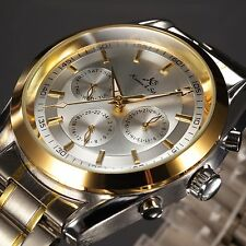 KS Classic Silver Auto Mechanical Automatic Date Man's Gold Steel Mens Men Watch