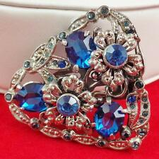 Art Deco Dress Clip Sapphire Blue Rhinestones Open back  Lot 107