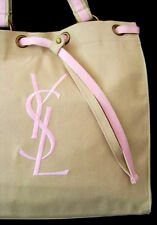 100%AUTHENTIC Exclusive RARE YSL Signature NUDE&PINK GYM~BEACH TRAVEL CANVAS BAG