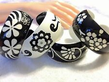 4 Piece Acrylic/Plastic Black and White Bangle Cuffs w/ Glass Rhinestones