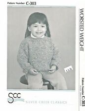 Pullover Sweater Knitting Pattern C-303 Silver Creek Classics Toddlers 1-6 yrs