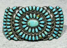 Rare HUGE OLD Signed Navajo Larry Moses Begay 925 Silver Turquoise Hair Barrette