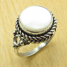 Corporate Gifts !! 925 Silver Overlay MOTHER OF PEARL LADIES' Ring Size US 8 1/4