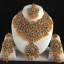 ORANGE GOLD INDIAN COSTUME JEWELLERY NECKLACE EARRINGS CRYSTAL SET BRIDAL NEW