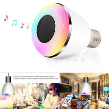 Phone App Bluetooth 4.0 Control Smart Music Audio Speaker E27 LED RGB Light Bulb
