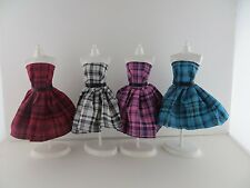 Set of 4 Fun and Stylish Plaid Dresses Made to Fit Barbie Doll