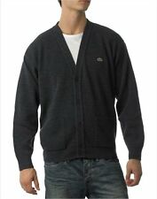 new mens LACOSTE LONG SLEEVE WOOL CARDIGAN in charcoal size 6 large