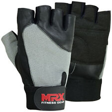 Men's Weight Lifting Gloves Gym Training Fitness Genuine Leather Black / Grey XL
