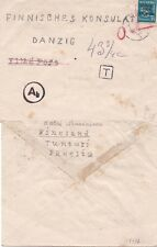Finland 1940 Cover to Consular in Danzig and taxed{See Below}