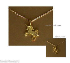 "Dogeared Gold UNICORN Charm Life is Magical Necklace 14K Gold Filled 16"" & POUCH"