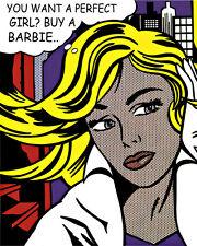 Lichtenstein Style Barbie #2 Pop Art Canvas 16 x 20  #2271