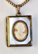 Art Deco carved shell cameo mop photo locket 12K gold filled square box chain 30
