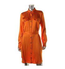 Lauren Ralph Lauren Women's Belted Satin Shirt Dress Orange, New Sz 4