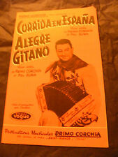 Partition Corrida en Espana Alegre Gitano Primo Corchia 1963