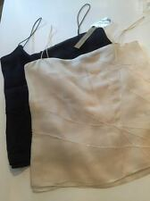 2 DONNA KARAN beaded camisoles / tanks black and ivory. NWT from NEIMAN