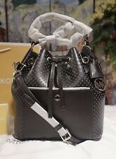 NWT Michael Kors GREENWICH Medium Saffiano Leather Bucket Bag BLACK/WHITE $328